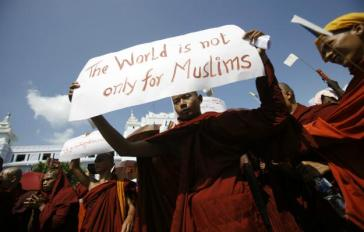 A Buddhist monk protest Islam. Credit: Foreign Policy